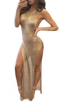 Womens Sheer High Sides Slit Sleeveless Maxi Beach Dress Gold