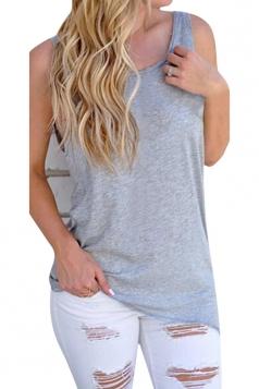 Womens Knot Open Back Plain Sleeveless Tank Top Gray