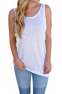 Womens Knot Open Back Plain Sleeveless Tank Top White