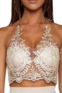 Womens Sheer Halter Lace Zipper Back Crop Top Gold