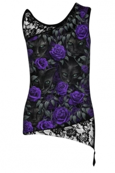 Womens Lace Patchwork Plus Size Flower Printed Camisole Top Black