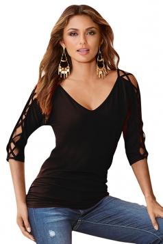 Womens V Neck Cross Cut Out Half Sleeve Plain T Shirt Black