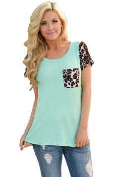 Womens Crewneck Leopard Printed Spliced Short Sleeve T-shirt Blue