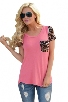 Womens Leopard Printed Spliced Short Sleeve T-shirt Watermelon Red