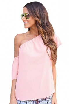 Womens Sexy One Shoulder Elastic Plain Blouse Pink
