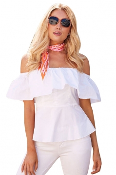 Womens Sexy Ruffle Off Shoulder Tunic Plain Blouse White