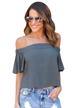 Womens Sexy Off Shoulder Plain Chiffon Ruffle Sleeve Blouse Gray