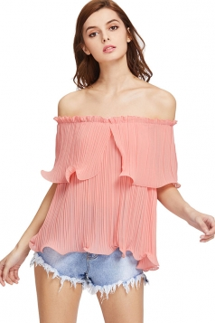 Womens Sexy Off Shoulder Cascading Ruffle Chiffon Blouse Pink