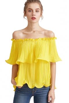 Womens Sexy Off Shoulder Cascading Ruffle Chiffon Blouse Yellow