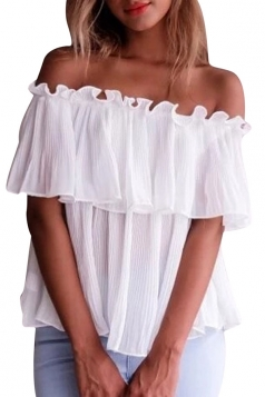 Womens Sexy Off Shoulder Cascading Ruffle Chiffon Blouse White