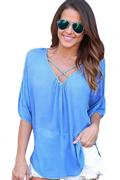 Womens Sexy Crosse Strings V-Neck Open Back Blouse Blue