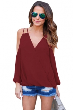 Womens Sexy Cold Shoulder V Neck Wrap Front Breezy Blouse Ruby