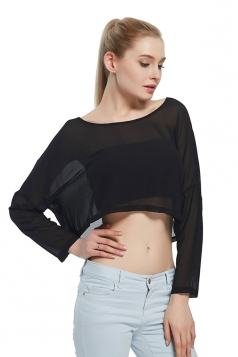 Womens Sexy Plain Chiffon Long Sleeve Crop Blouse Black