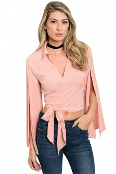 Womens Sexy V-Neck Long Slit Sleeve High Waist Bandage Blouse Pink