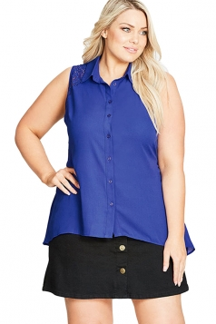 Womens Plus Size Lace Patchwork Hollow Out Blouse Sapphire Blue