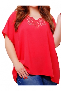Womens Plus Size Plain Lace Patchwork Short Sleeve Blouse Red