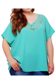 Womens Plus Size Plain Lace Patchwork Short Sleeve Blouse Turquoise