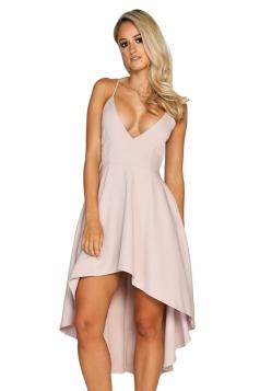 Womens Sexy Straps V-Neck Asymmetrical Hem Midi Dress Pink