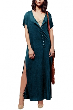 Womens Sexy Deep V-Neck Short Sleeve Both Side Slits Maxi Dress Blue