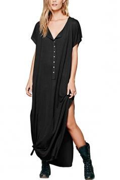 Womens Sexy Deep V-Neck Short Sleeve Both Side Slits Maxi Dress Black