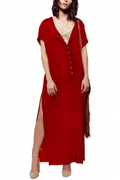 Womens Sexy Deep V-Neck Short Sleeve Both Side Slits Maxi Dress Red