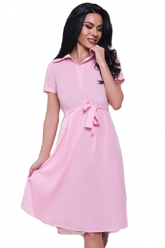 Womens Turndown Collar Short Sleeve Bottom Chiffon Skater Dress Pink
