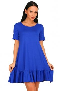 Womens Fashion Ruffled Hem Short Sleeve Smock Dress Blue