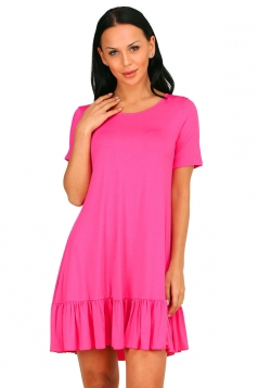 Womens Fashion Ruffled Hem Short Sleeve Smock Dress Rose Red