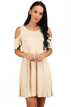 Womens Cold Shoulder Seam Pocket Crew Neck Smock Dress Apricot
