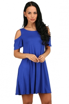 Womens Cold Shoulder Seam Pocket Crew Neck Smock Dress Blue