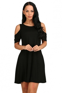 Womens Cold Shoulder Seam Pocket Crew Neck Smock Dress Black