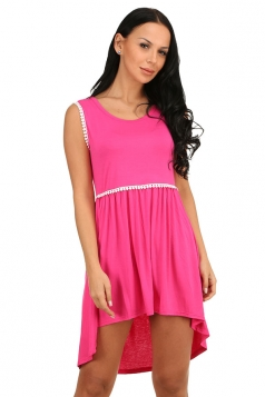 Womens Fashion High Low Pleated Sleeveless Skater Dress Rose Red