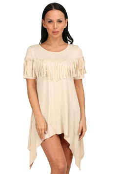 Womens Sexy Short Sleeve Fringe Irregular Hem Smock Dress Apricot