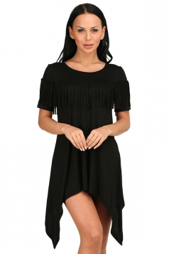Womens Sexy Short Sleeve Fringe Irregular Hem Smock Dress Black