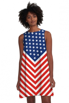 Womens Casual Stars&Stripes Flag Printed Smock Dress Blue