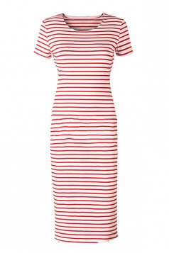 Womens Sexy Casual Stripes Short Sleeve Side Slit Shirt Dress Red