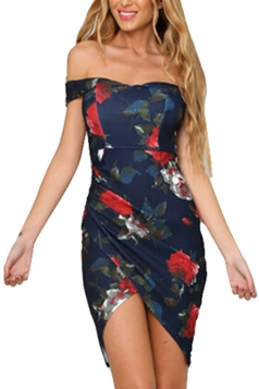 Womens Sexy Off Shoulder High Low Floral Printed Dress Navy Blue