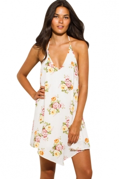 Womens Sexy Halter Deep V Neck Backless Floral Printed Dress White