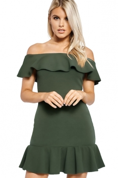 Womens Sexy Off Shoulder Ruffle Hem Plain Tube Dress Army Green