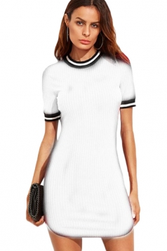 Womens Slimming Short Sleeve Stripe Bodycon Dress White