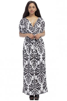 Womens Sexy Bohemian Printed Deep V-Neck Plus Size Maxi Dress White