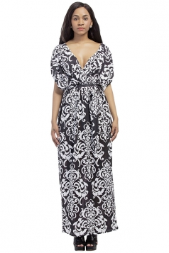 Womens Sexy Bohemian Printed Deep V-Neck Plus Size Maxi Dress Black
