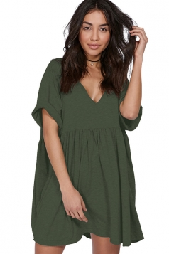 Womens Casual V-Neck Short Sleeve Smock Dress Army Green