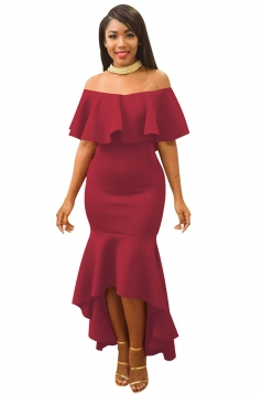 Womens Ruffle Off Shoulder Slimming Fishtail Evening Dress Ruby