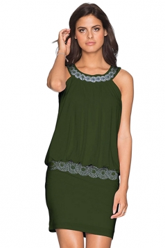 Women Elegant Halter Beaded Slimming Sleeveless Dress Army Green