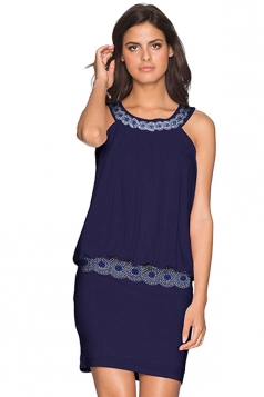 Women Elegant Halter Beaded Slimming Sleeveless Dress Navy Blue