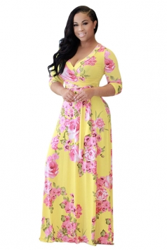 Womens 3/4 Sleeve Wrap Floral Print Tie Waist Maxi Dress Yellow