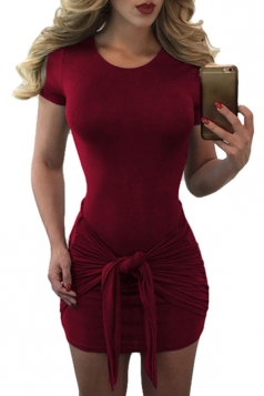 Womens Sexy Short Sleeve Bandage Bodycon Dress Ruby