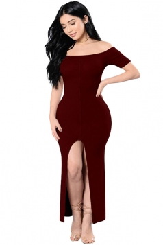 Womens Sexy Off Shoulder High Slits Knitted Clubwear Dress Ruby