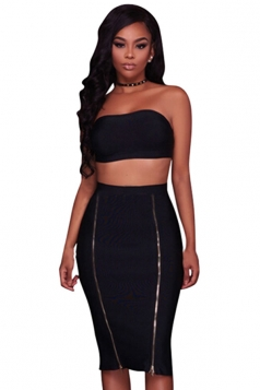 Womens Sexy Bandeau Top&Zipper Pencil Skirt Clubwear Dress Black
